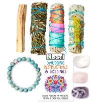 JL Local Earth & Air Smudging Kit - Flower White Sage, Amethyst, Clear & Rose Quartz, Palo Santo, Instructions & Turquoise Bracelet (Standard)