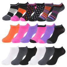 Women's Patterned and Solid Low Cut No Show Ankle Socks, Value Pack of 18, 12 or 6 Pairs, Shoe Size 4 – 10