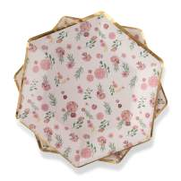 """Floral Paper Plates Pink Flowers 7"""" Dessert Plates with Metallic Gold Foil Trim Detail for Baby Shower, Birthday, Bridal Shower, Wedding, Entertaining by Twigs & Twirls - Posh Floral, (16 count)"""