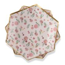 "Floral Paper Plates Pink Flowers 7"" Dessert Plates with Metallic Gold Foil Trim Detail for Baby Shower, Birthday, Bridal Shower, Wedding, Entertaining by Twigs & Twirls - Posh Floral, (16 count)"