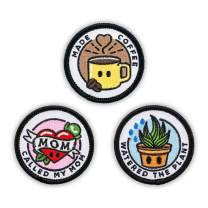 """Winks For Days Adulting Merit Badge Embroidered Iron-On Patches (Responsibilities - Set 1) - Includes Three (3) 2"""" Patches: Called My Mom, Made Coffee, and Watered The Plant"""