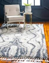 Unique Loom Hygge Shag Collection Abstract Plush Cozy Gray Area Rug (4' 0 x 6' 0)