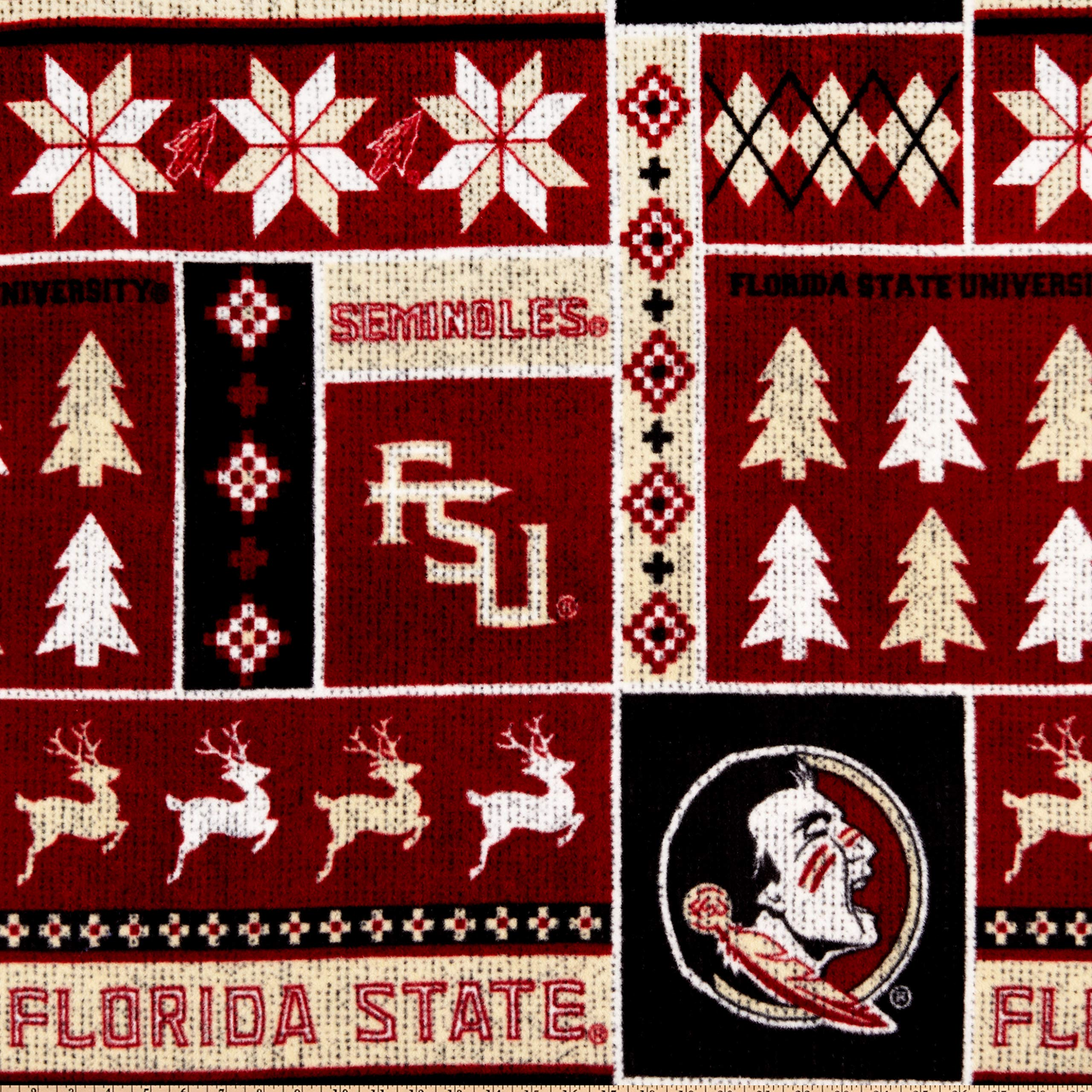 Sykel Enterprises NCAA-Florida State 1182 Ugly Sweater Fleece Multi, Fabric by the Yard