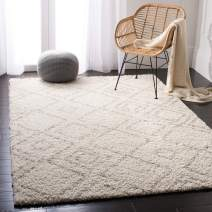 Safavieh Arizona Shag Collection ASG744A Southwestern Diamond Geometric Ivory and Beige Area Rug (9' x 12')