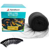 AlpineReach Koi Pond Netting Kit 28 x 30 Feet Gift Box - Woven Fine Mesh Heavy Duty Stretch Net Cover for Leaves - Protects Koi Fish from Blue Heron Birds Cats Predators UV Protection Stakes Included