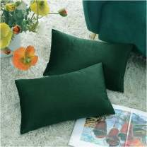 COMFORTLAND New Year/Christmas Decorative Pillow Covers 12x20 Amy Green: 2 Pack Cozy Soft Velvet Rectangular Throw Pillow Cases for Farmhouse Sofa Couch Bed Chair Home Decor Decorations