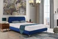 Casa Andrea Mid Century Modern Elegant Velvet Bed Frame (Full, Navy Blue)