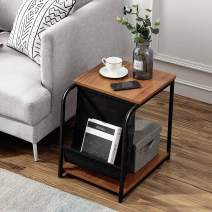 VECELO Modern Sofa Side/End/Snack/Accent Table, Nightstand with Magazine Holder Sling for Living Room, Bedroom, Brown