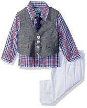 Izod Baby Boys 4-Piece Set with Dress Shirt, Pants, Tie, and Vest