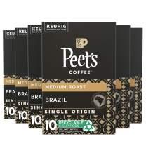 Peet's Coffee Brazil Minas Naturais K-Cup Coffee Pods for Keurig Brewers, Medium Roast, 60 Pods