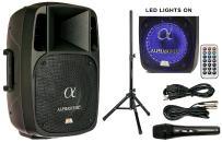 "Alphasonik 12"" Powered 2000W PRO DJ Amplified Loud Speaker Bluetooth USB SD Card AUX MP3 FM Radio PA System LED Ring Karaoke Mic Main Monitor, Band Church, Party, Guitar Amp, Home, BBQ w/ Tripod Stand"