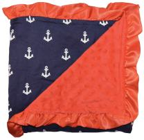 Unique Baby Soft Textured Minky Dot Blanket with Satin Trim, Anchor Red
