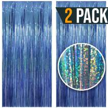3.25 x 6.7 ft (2 Pack) Tinsel Foil Fringe Curtains Party Decorations Photo Booth Backdrop   Wedding Décor Baby Shower Graduations Valentine day Bachelorette Birthday Decorations (Light Blue (Sparkly))