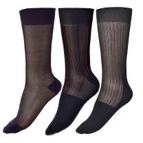 Men Thin Socks Silk Sheer Trouser Tuxedo Dress Sox Mid-Calf Over the Calf 3 Packs
