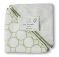 SwaddleDesigns Organic Cotton Terry Velour Baby Washcloths, Set of 2, Kiwi Mod Circles with Satin Trim
