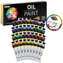 U.S. Art Supply Professional 36 Color Set of Art Oil Paint in Large 18ml Tubes - Rich Vivid Colors for Artists, Students, Beginners - Canvas Portrait Paintings - Bonus Color Mixing Wheel