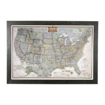 Push Pin Travel Maps Executive US with Rustic Black Frame and Pins - 27.5 inches x 39.5 inches