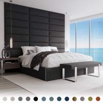 """Vänt Upholstered Wall Panels - King/Cal King Size Wall Mounted Headboards – Weave Steal Black – Pack of 4 Panels (Each Individual Panel 39""""x11.5"""")"""