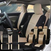 FH Group FH-FB060115 Trendy Elegance Car Seat Covers, Airbag Compatible and Split Bench with F14407 Premium Carpet Floor Mats Beige/Black - Fit Most Car, Truck, SUV, or Van