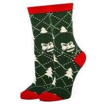Oooh Yeah Women's Novelty Crew Socks, Funny Socks for Bob Ross, Holiday Socks, Christmas Socks, Crazy Socks