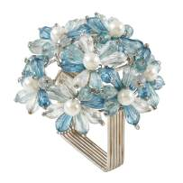 "SARO LIFESTYLE NR215 Collection Beaded Floral Napkin Rings (Set of 4), 3"" x 3"", Aqua"