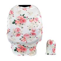 TUOKING Car Seat Covers for Babies, Silky Nursing Cover for Breastfeeding, Matching Storage Bag, Peony-White