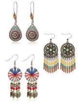 LOYALLOOK 3 Pairs Bohemian Earrings Vintage Dangle Teardrop Earrings for Women Fashion Dangling Earrings National Style Long Drop Hollow Vintage Colorful Earrings