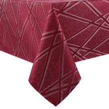 Hiasan Square Tablecloth with Silver Lines Wrinkle Resistant Waterproof Washable Jacquard Table Cloth for Dining Room Kitchen Party, 54 x 54 Inch, Beaujolais