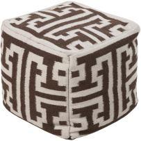 "Smithsonian by Surya Hand Made 80% Wool / 20% Cotton Tan 18"" x 18"" x 18"" Pouf"