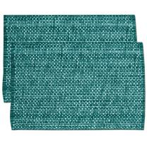 """Sweet Home Collection Trends Two Tone 100% Cotton Woven Placemat (6 Pack), 13"""" x 19"""", Turquoise"""
