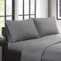 "Intelligent Design Microfiber Wrinkle Resistant, Soft Sheets with 12"" Pocket Modern, All Season, Cozy Bedding-Set, Matching Pillow Case, Twin, Chevron Black"