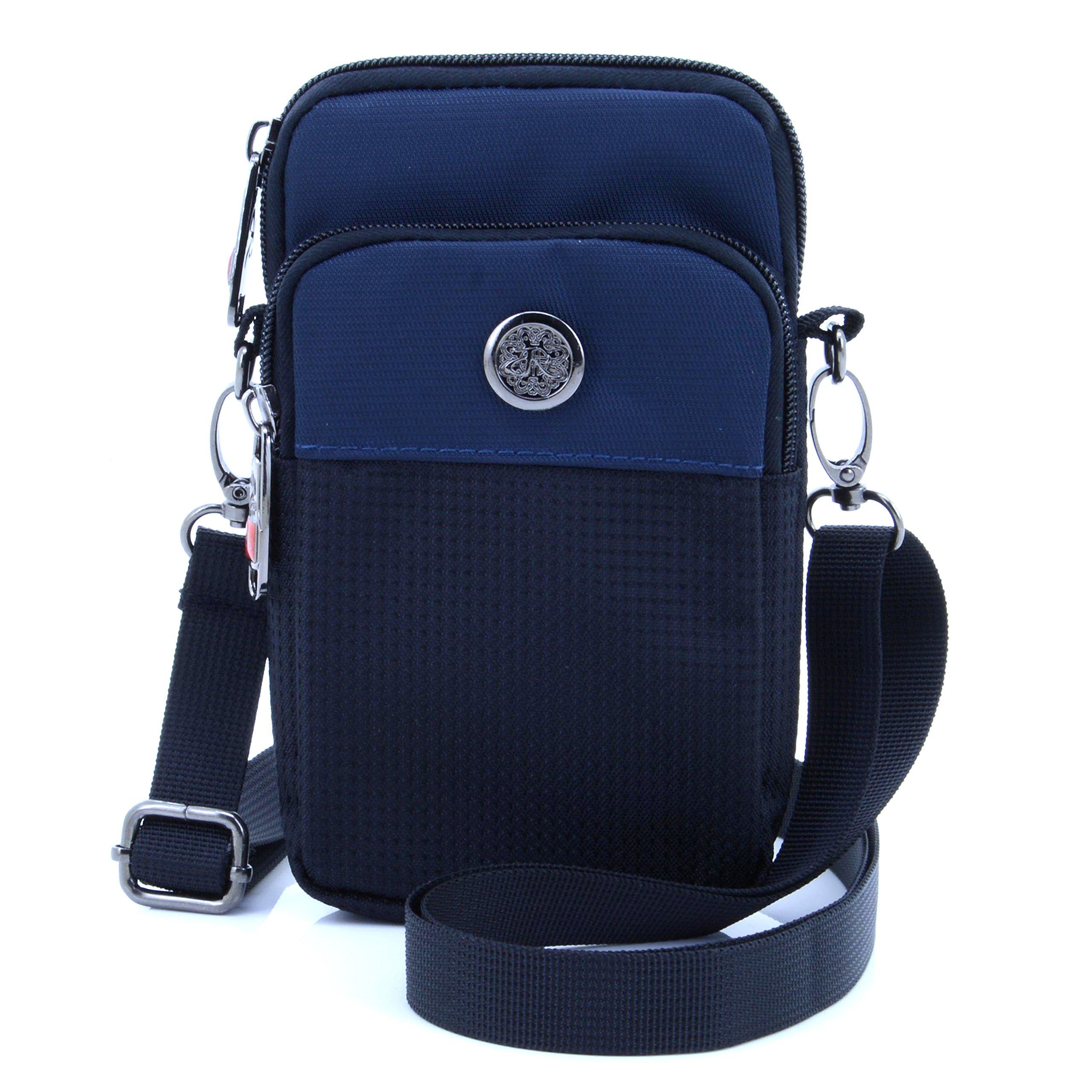 "U-TIMES Casual Water Resistant Oxford Waist Wallet Bag 6"" Crossbody Shoulder Phone Pouch(Dark Blue)"