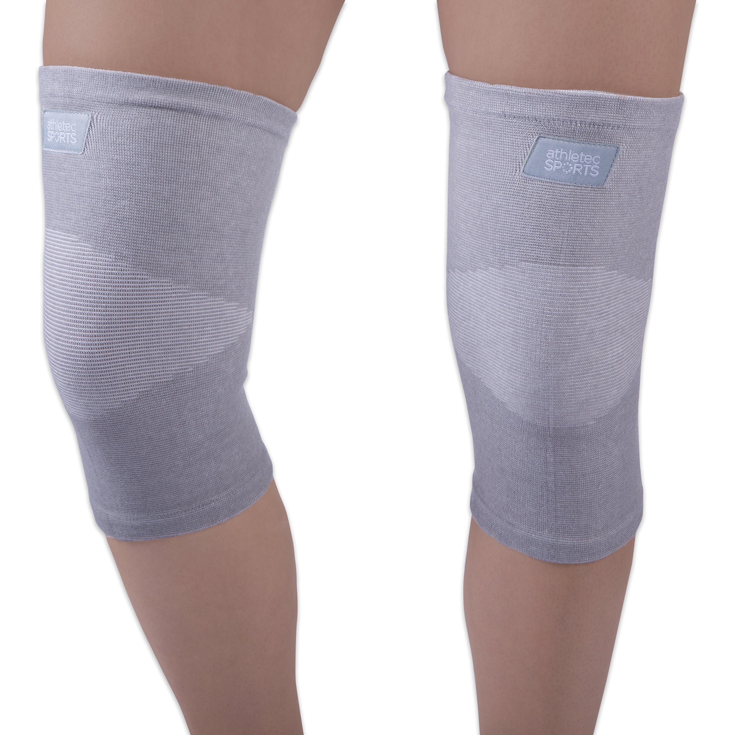 Athletec Sport Bamboo Charcoal Knee Compression Sleeve for Knee Pain, Joint Pain, Arthritis Relief, Meniscus Tear and Support for Running, Walking, Workout, Recovery - Size Large in Grey (Pair)