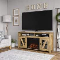 """Ameriwood Home Bloomfield 60"""", Natural Fireplace TV Stand"""
