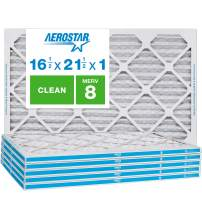 "Aerostar Clean House 16 1/2x21 1/2x1 MERV 8 Pleated Air Filter, Made in the USA, (Actual Size: 16 1/2""x21 1/2""x3/4""), 6-Pack,White"