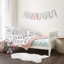 Levtex Baby - Fiona Toddler Bed Set - Pink, Aqua, White - Woodland Forest Theme - 5 Piece Set Includes Reversible Quilt, Fitted Sheet, Flat Sheet, Pillow Case, Decorative Pillow