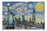 New York City, New York - Skyline - Van Gogh Starry Night (Premium 1000 Piece Jigsaw Puzzle for Adults, 20x30, Made in USA!)