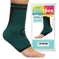 ZenToes Ankle Brace Compression Socks, Pair, Open Toe Sleeves Help Reduce Swelling and Inflammation, Promote Injury Recovery for Achilles Heel, Plantar Fasciitis, Joint Pain (Medium)