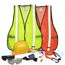 KwikSafety (Charlotte, NC) TURTLE SHELL VEST KIT (10 Vents) Standard Cap ANSI Hard Hat, Safety Glasses, Vests, Tool Lanyard, Sunshade, Sweatbands, Earplugs Construction Gear, Type1, Class C, YELLOW