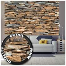 Poster – Shale Stonewall – Picture Decoration Stone Optic Realistic Paper Cladding Rustic Interior Industrial Design Look Image Photo Decor Wall Mural (55x39.4in - 140x100cm)