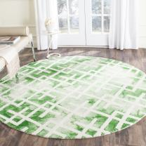Safavieh Dip Dye Collection DDY677Q Handmade Geometric Watercolor Green and Ivory Wool Round Area Rug (7' Diameter)