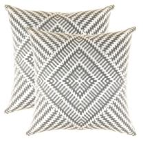 TreeWool, Pack of 2, Throw Pillow Cover Kaleidoscope Accent 100% Cotton Decorative Square Cushion Cases (24 x 24 Inches / 60 x 60 cm; Graphite Grey & Off White)