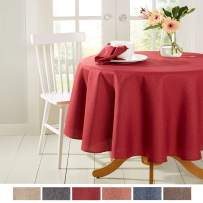 """Town & Country Living Somers Modern Farmhouse Tablecloth, Picnic/Indoor Outdoor/Stain Resistant/Machine Washable Polyester, 70"""" Round Red"""