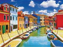 1000 Piece Large Jigsaw Puzzle for Adults - 1000 pc Landscape Jigsaw Puzzle Game Interesting Toys - Hand Made Puzzles Personalized Gift(Burano)