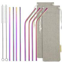 STRAWTOPIA Long Rainbow Straight Bent Metal Straws (8 Pack) Colorful Stainless Steel Straws Drinking Reusable with Case, Cleaning Brushes, Fits 30 40oz Tumblers, Dishwasher Safe, 6mm Wide (10.4 in)