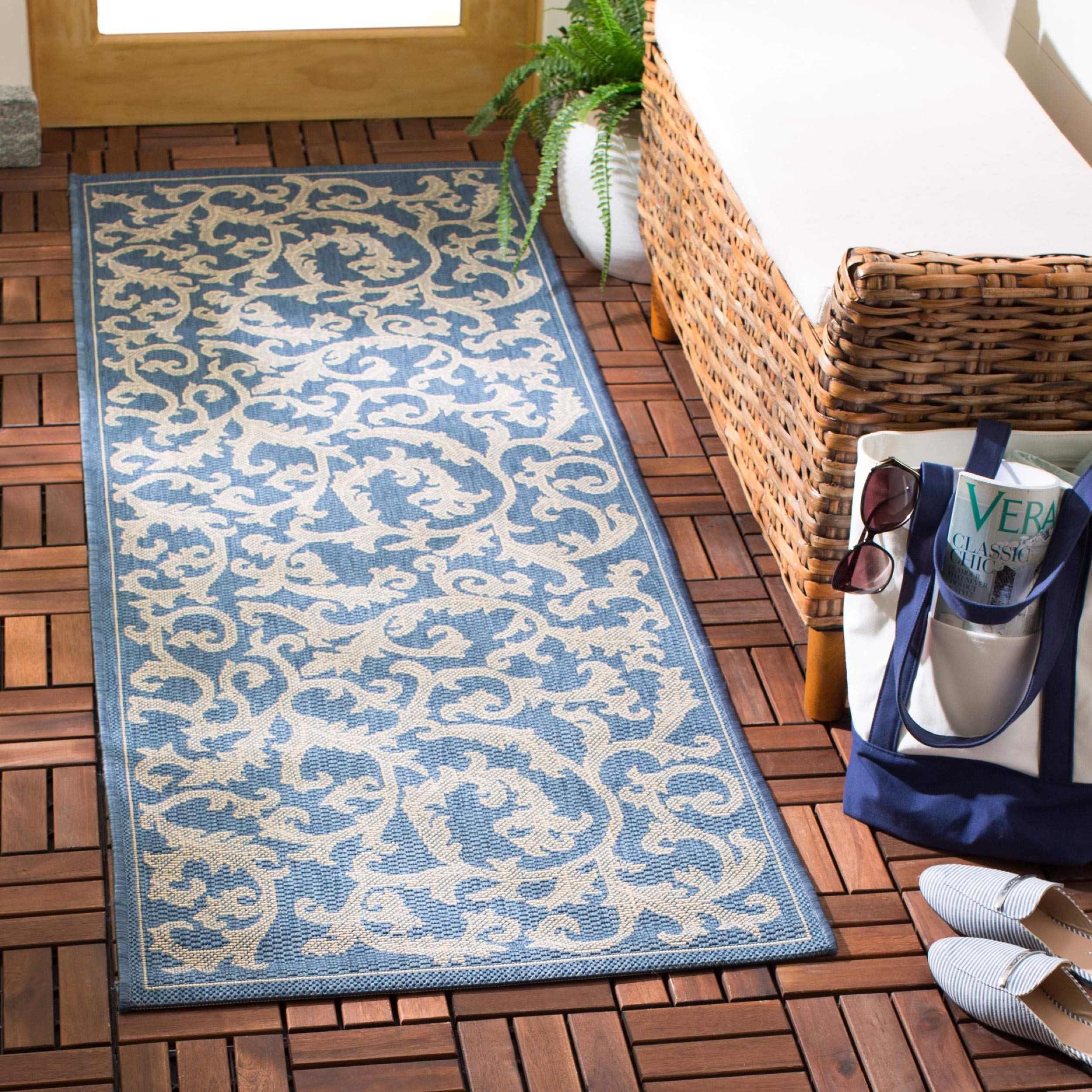 Safavieh Courtyard Collection CY2653-3103 Blue and Natural Indoor/Outdoor Area Runner Rug, 2-Feet 4-Inch by 6-Feet 7-Inch