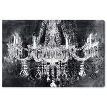 """The Oliver Gal Artist Co. Fashion and Glam Wall Art Canvas Prints 'Crystal Attraction' Home Décor, 45"""" x 30"""", Black, White"""