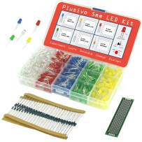 5mm Diffused LED Diode Assortment Kit - Pack of Assorted Color LEDs and Resistors (600 pcs) - Red, Green, Yellow, Blue and White Light Emiting Diode Indicator Lights from Plusivo