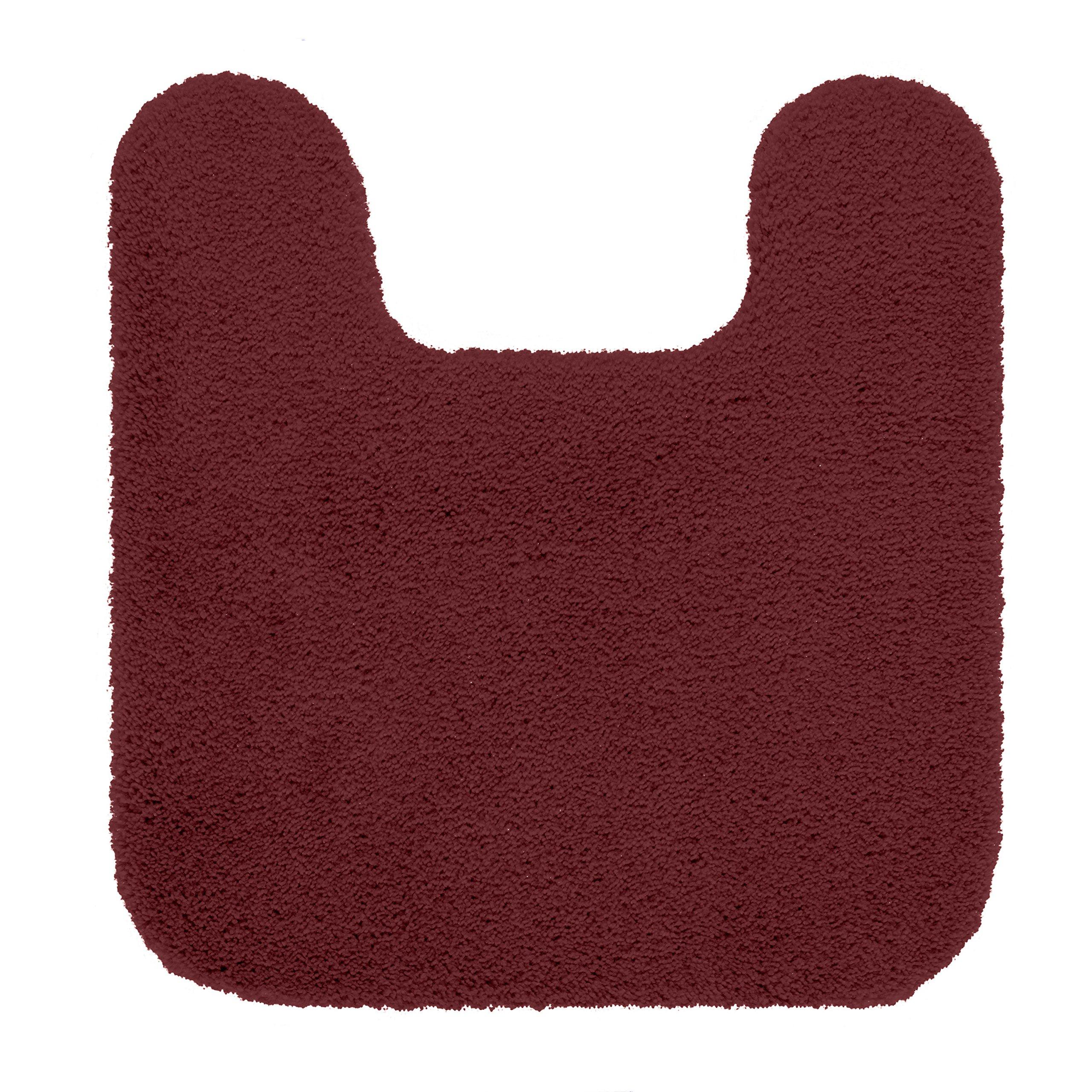 "Maples Rugs Cloud Bath 20"" x 21.5"" Contour Non Slip Toilet Rug [Made in USA] Machine Washable Soft Bath Mat, Crimson Victory"