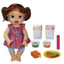 Baby Alive Super Snacks Snackin' Sara Brunette, Dress color may vary
